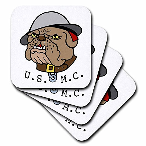 3dRose cst_11122_3 Devil Dog Marine-Ceramic Tile Coasters, Set of - Dog Tile Coaster Ceramic