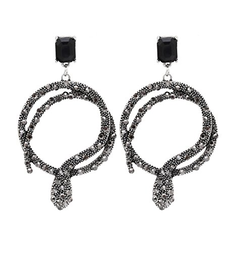 Vintage Snake Statement Dangle Earrings Pave Crystal Coiled Snake Circle Drop Earring for Women Silver