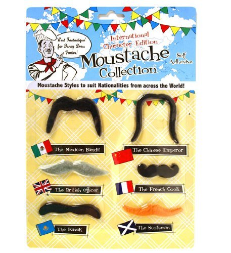 International Fake Moustache Set Collection - Funny Forei...