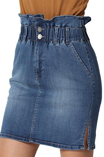 TheMogan Junior's Paperbag Pleated Elastic High Waist Mini Denim Skirt Medium 2XL