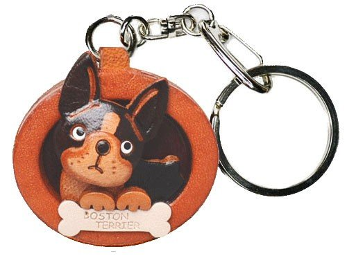 Boston Terrier Leather Plate Dog Keychain Vanca Craft-collectible Keyring Made in Japan