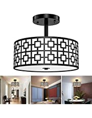 DLLT Modern Semi Flush Mount Ceiling Lighting Fixture, Pendant Lamp Close to Ceiling Light with Carving Drum Shade Ceiling Light for Bedroom, Living Room, Kitchen