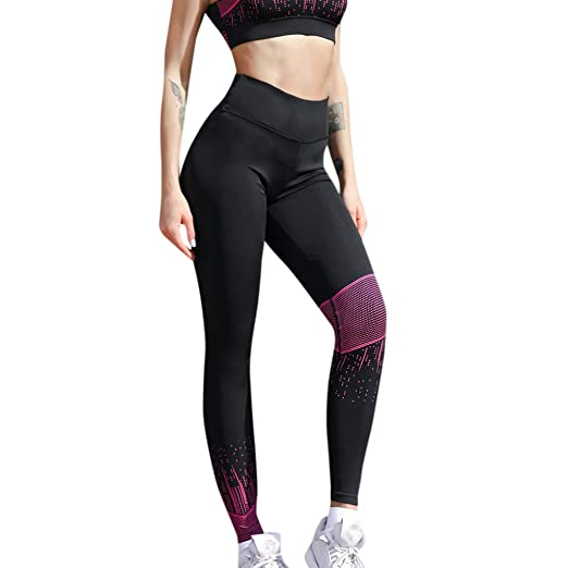 70a09a9366acc9 Women High Waist Hips Yoga Pants, Ladies Workout Leggings Print Fitness Slim  Running Soft Sweatpants at Amazon Women's Clothing store: