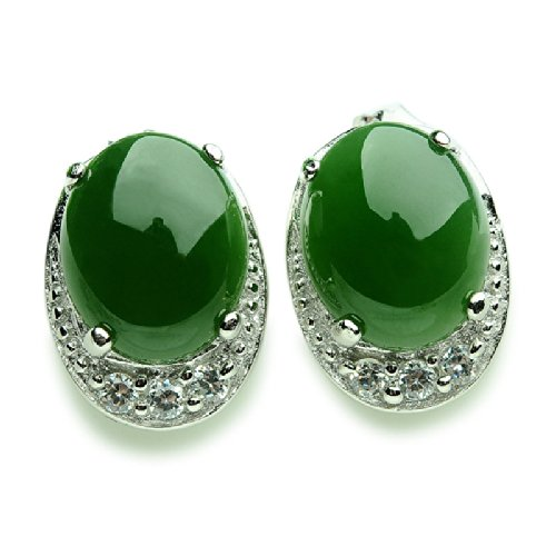 Natural Nephrite Jade 925 Sterling Silver Stud Earrings Wedding Party Jewelry by MPH