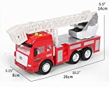 Toy Fire Truck with Lights and Sounds - 4 Sirens - Extending Ladder - Powerful Friction Rolling - for Kids & Toddlers