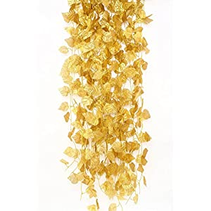 12 Pcs Artificial Golden Grape Leaves Vine Fake Hanging Garland Plants Greenery Ivy for Wedding Party Garden Outdoor Christmas Decoration Each 7.9 Ft Long 68