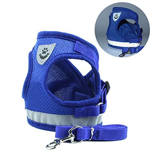 FSHTOB Dog Cat Harness Pet Adjustable Reflective Vest Walking Lead Leash for Puppy Polyester Mesh Harness for Small Medium Dog Blue L