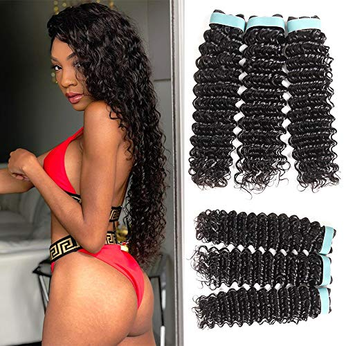 Deep Wave 3 Bundles (8 8 8) 9A Grade 100% Unprocessed Virgin Remy Brazilian Human Hair Extension Deep Wave Bundles Natural Color Can Be Dyed and Bleached