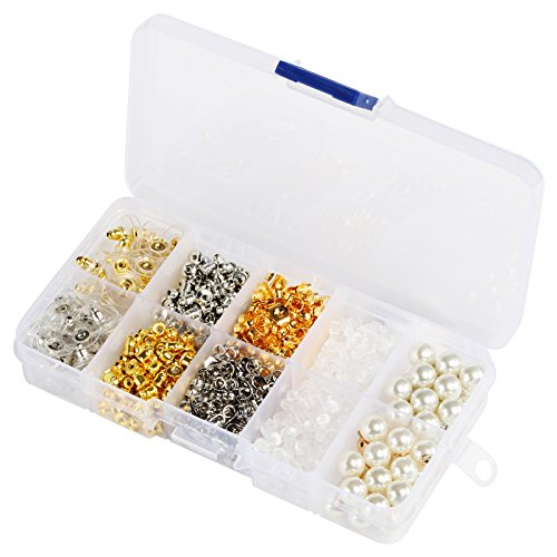 - Earring Backs,Earring backings Naler 10 Styles Earring Back Clips Bullet Shape Earring Backs Butterfly Metal Pearl Rubber Plastic Secure Earring Backs for Safety, 700 Pieces