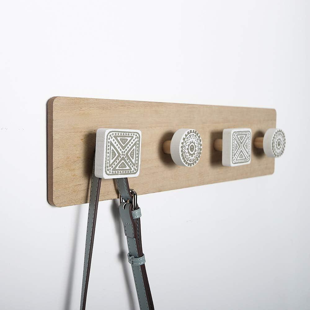 Perchero de pared con 4 ganchos Perchero de madera para sal/ón decoraci/ón dormitorio Meowtutu