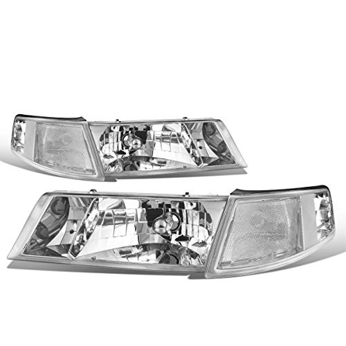 For Mercury Grand Marquis 3rd Gen Pair of Chrome Housing Clear Corner Headlight + Corner (Mercury Grand Marquis Headlamp Assembly)