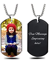 Personalized Custom Photo and Message Necklace Pendant Keychain Dog tag