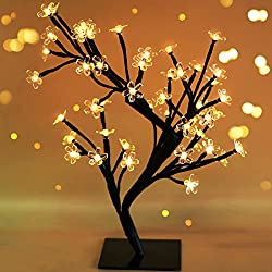 "Bright Zeal 17.5"" Battery Operated LED Cherry Blossom Tree Lights (6hr Timer) - Bonsai Lighted Tree - Cherry Blossom Tree Light Tabletop LED Tree Lamp - Spring Home Decor Artificial Plants BZY"