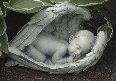 Joseph Studio 11276 Wide Sleeping Baby in Wings Garden Statue, 15-Inch