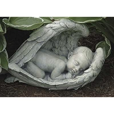 Joseph Studio 11276 Wide Sleeping Baby in Wings Garden Statue, 15-Inch : Outdoor Statues : Garden & Outdoor