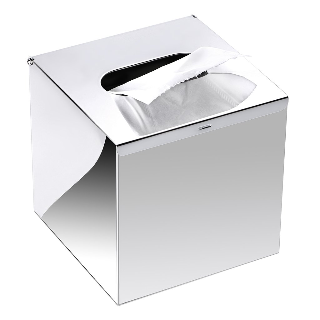 Sumnacon Square Stainless Steel Tissue Box Cover - Wall Mounted Stylish Paper Facial Cover, Modern Metal Tissue Box Holder for Bedroom/Bathroom/Vanity/Countertop/Dresser/Night Stand/Office/Car, Polish