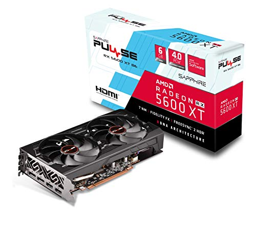 Sapphire 11296-05-20G Radeon Pulse RX 5600 XT BE 6GB GDDR6 Dual HDMI / Dual DP OC w/ Backplate (UEFI) PCIe 4.0 Graphics Card