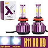 H11 H8 H9 LED Headlight Bulbs 20000LM 200W 6000K Cool White High Beam / Low Beam / Fog Light 4 Side COB Chips Super Bright 360 Degree Auto Headlamp All-in-One Conversion Kit Plug & Play -2 Yr Warranty