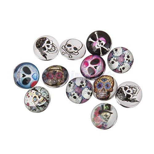 12PCs Snap Buttons Fit Noosa Snap Bracelet Skull Head Multicolor Mixed 18mm