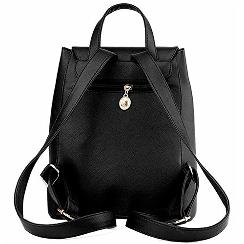 Leather amp; joyee Backpack for Women Black Z Backpack Shoulder Girls Purse Fashion Casual School Mini Bag wXwqpFx