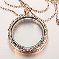 Saengthong 30mm Floating Charm Living Memory Round Glass Locket Charms Pendant Necklace