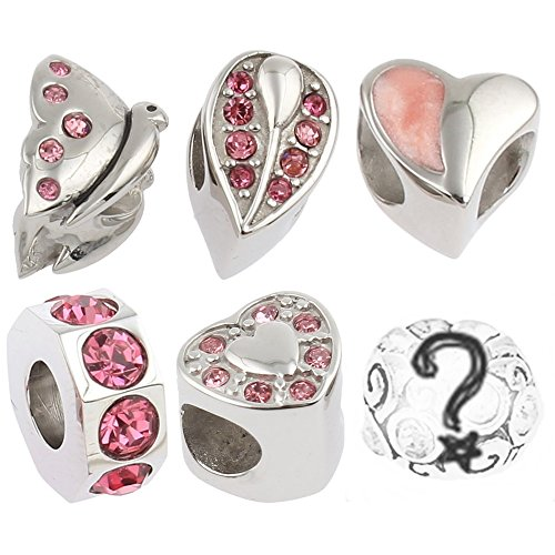 Pink Rhinestone Charms for European Charm Bracelets Stainless Steel Butterfly Hearts (Rhinestone Priorities Pink)