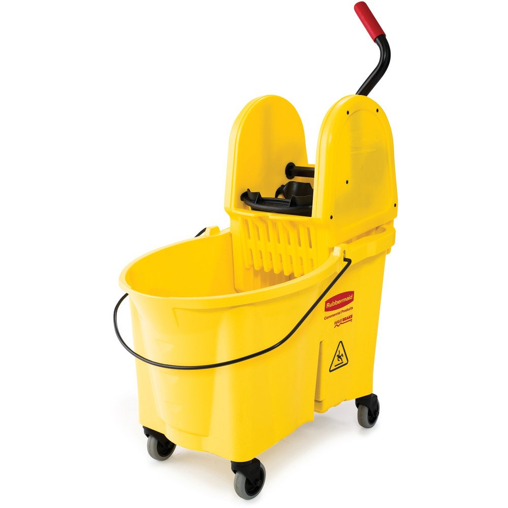 Rubbermaid Commercial WaveBrake Mop Bucket and Down Press Wringer Combo, 44-Quart, Yellow, FG757688YEL