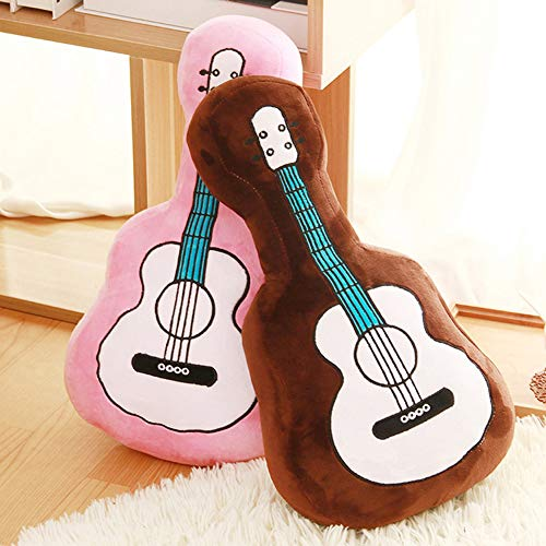 Guitar Pillow Throw Plush Pillow , Toy Guitar Shaped Pillows ,Stuffed Bed Pillows Sofa Pillows Gift for Kids Teens Girls Children Decorative for Sofa Bed Cushion (60mm,Brown)