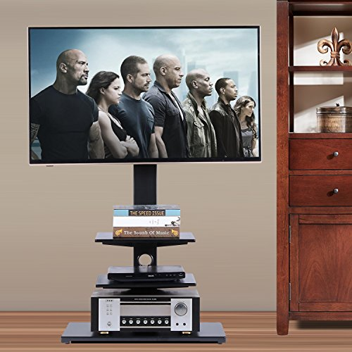 Rfiver Swivel Floor TV Stand with Mount and Three Shelves for 32 to 65 Inches Plasma/LCD/LED TVs, Black TF1002 (Wood Tv Plasma Lcd)