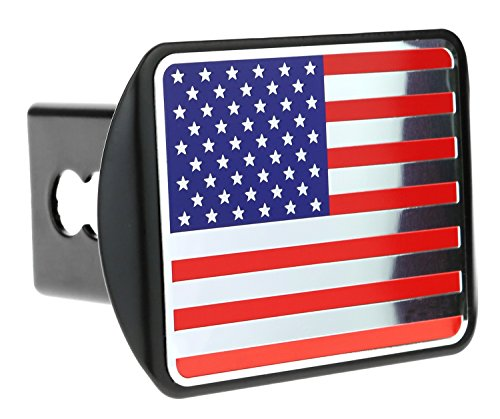 (eVerHITCH USA American Color Stainless Steel Embossed Metal Flag on Metal Trailer Hitch Cover Fits 2