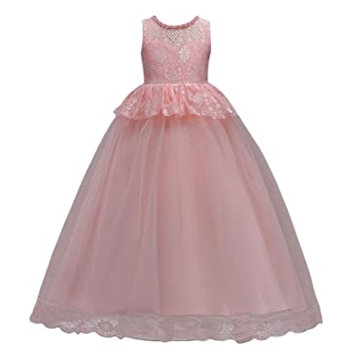 IBTOM CASTLE Girls Toddler Pageant Dresses for Teens Bow Flower Girls Dress Pink 5-6
