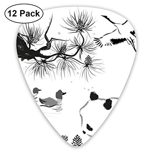 Bird Panda Bear Ink 351 Shape Classic Celluloid Guitar Pick For Electric Acoustic Mandolin Bass (12 Count)