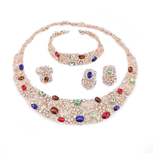 OUHE Color Crystal Chain Necklace Ring Bracelet Jewelry Set Costume Show Wedding Gold Plated