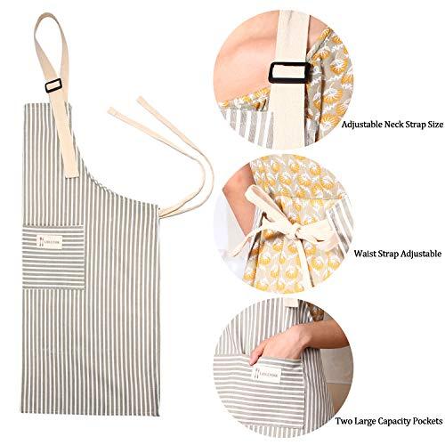 2 Pieces Cotton Linen Cooking Apron Adjustable Kitchen Apron Soft Chef Apron with Pocket for Women and Men 3