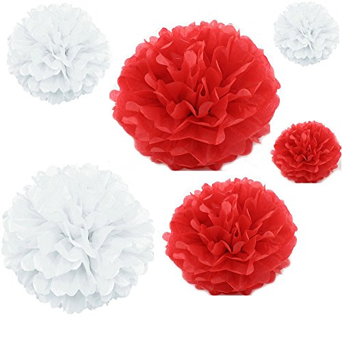 Joinwin® 12PCS Mixed Sizes White Red Tissue Paper Flower Pom Poms Pompoms Wedding Birthday Party Nursery Decoration