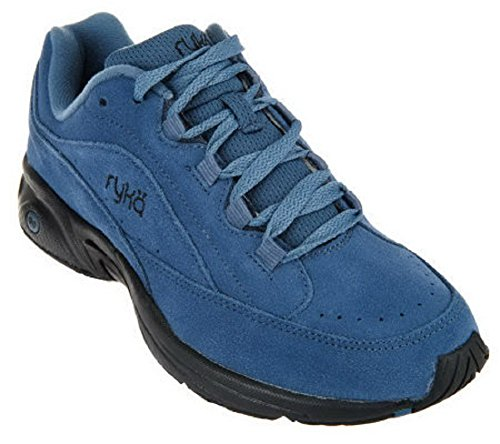 Ryka Catalyst Suede Lace-up Walking Sneakers (8, Blue/Black) - Suede Lace Up Walking Shoes