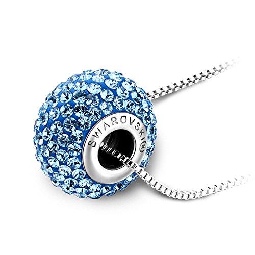 Swarovski Crystal Shining Beads (Btime Fashion Shambhala Style Charm Spacer Beads Pendant Necklace Crystals from Swarovski (Aquamarine))