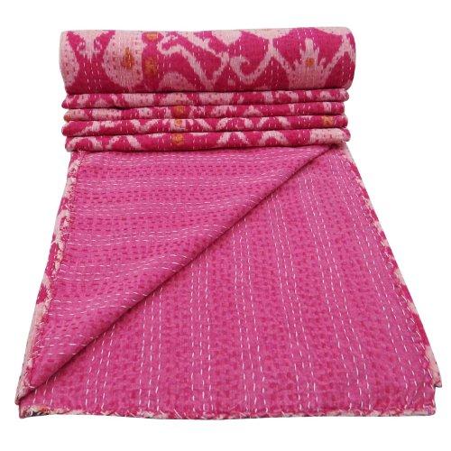 Home Décor Pink Quilt Cotton Kantha Style Gudri Paisley Reversible bedspread Art