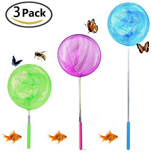 CC&SS Telescopic Butterfly Net Catching Bugs Insect Small Fish Extendable from 6.8'' to 34'' Inch for Kids (3 Pack) -