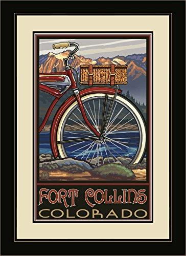 Northwest Art Mall PAL-6467 FGDM FTB Fort Collins Colorado Fat Tire Bike Framed Wall Art by Artist Paul A. Lanquist, 16 x - Fort Mall Collins