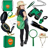 Kids Outdoor Explorer kit with Backyard SAFARI HAT for NATURE,Zoo Keeper,Park Ranger,Paleontology, STEM,SCIENTIFIC, HALLOWEEN,Bug Catching,Camping,Hiking,Dress up and Role play explorer gear