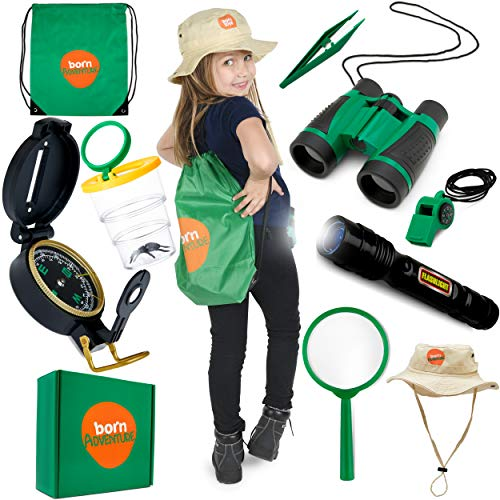 Kids Outdoor Explorer kit with Backyard Safari HAT for Nature,Zoo Keeper,Park Ranger,Paleontology, Bug Catching,Camping,Hiking,Dress up and Kids Role Play Explorer Gear Great Gift for Boys and Girls