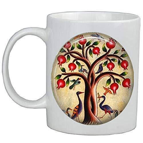 Tree of Life Coffee Mug Bird Jewelry Pomegranate Fruit Tree Nature Art Mug,Tree-Of-Life Coffee Mug,Family Tree Coffee Mug,Tree Of Life ()