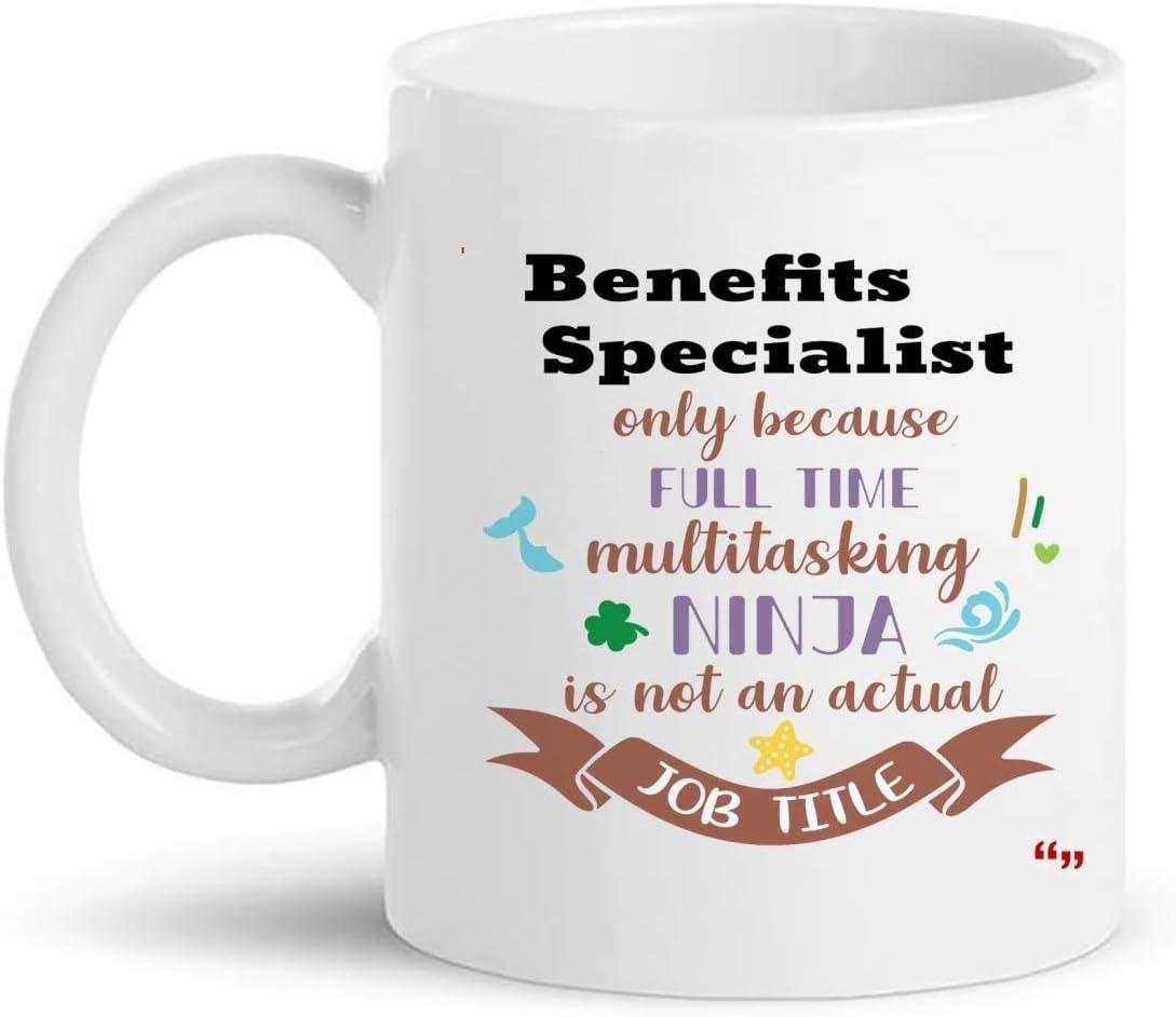 Not Applicable Taza Especialista en Beneficios 11Oz Coffee Cup - Regalo Especialista en Beneficios Regalos Personalizados para Hombres Mujeres Camisetas Tazas Tazas