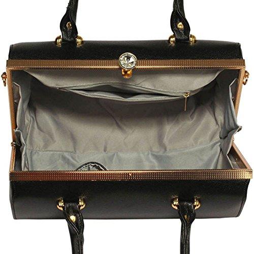 Xardi London barile Frame designer borsone da donna in pelle sintetica borse a tracolla borse UK Black