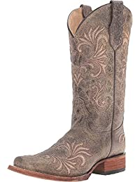 Corral Circle G Women's Square Toe Distressed Antique Green Leather Cowgirl Boots