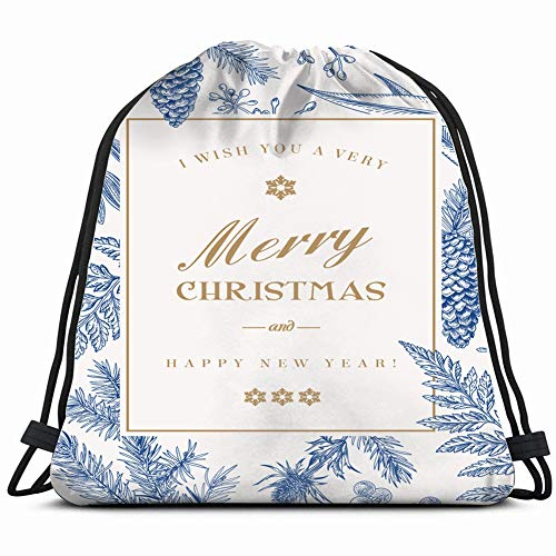 - christmas greeting card vintage style celebrities winter Drawstring Backpack Gym Sack Lightweight Bag Water Resistant Gym Backpack for Women&Men for Sports,Travelling,Hiking,Camping,Shopping Yoga