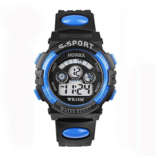 Malloom Moda Impermeable Niños Niñas natación Deportes Silicona Digital Reloj de Pulsera (Azul)