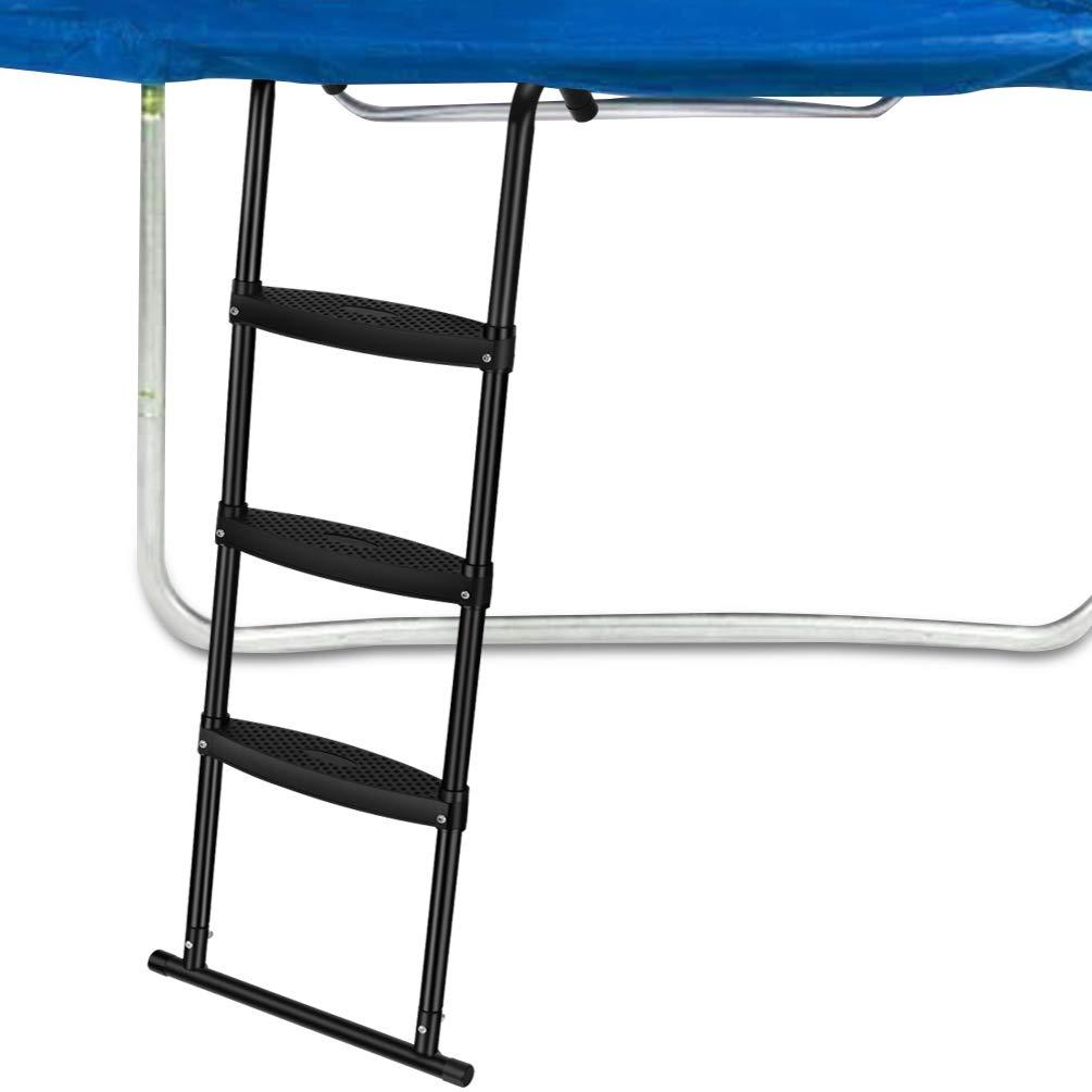 Gardenature Trampoline Ladder-3 Steps Wide-Step Ladder-Black by Gardenature
