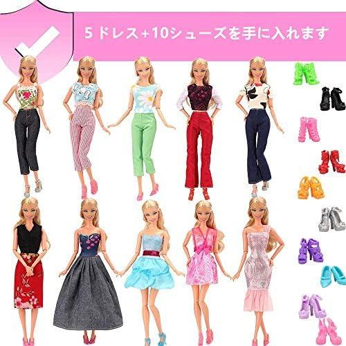 Barwa バービー人形用服 バビー人形用 バービードール用 着せ替え 15枚セット=5枚ドレス+10足靴